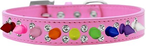 Double Crystal with Rainbow Spikes Dog Collar Bright Pink Size 16