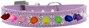 Double Crystal with Rainbow Spikes Dog Collar Lavender Size 12
