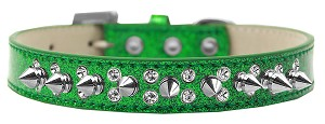 Double Crystal and Silver Spikes Dog Collar Emerald Green Ice Cream Size 16