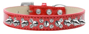 Double Crystal and Silver Spikes Dog Collar Red Ice Cream Size 14