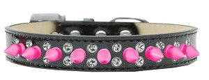 Double Crystal and Bright Pink Spikes Dog Collar Black Ice Cream Size 14