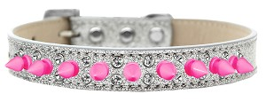 Double Crystal and Bright Pink Spikes Dog Collar Silver Ice Cream Size 16