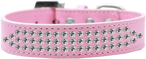Three Row Clear Crystal Dog Collar Light Pink Size 16