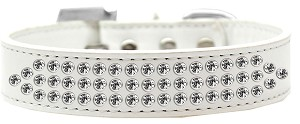 Three Row Clear Crystal Dog Collar White Size 18