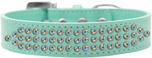 Three Row AB Crystal Dog Collar Aqua Size 18
