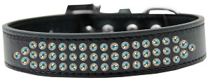 Three Row AB Crystal Dog Collar Black Size 18
