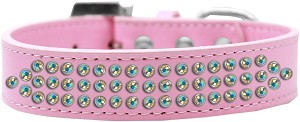 Three Row AB Crystal Dog Collar Light Pink Size 16