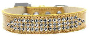 Three Row Clear Crystal Ice Cream Dog Collar Gold Size 14