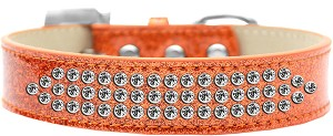 Three Row Clear Crystal Ice Cream Dog Collar Orange Size 16