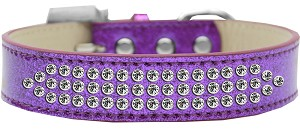 Three Row Clear Crystal Ice Cream Dog Collar Purple Size 14