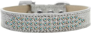 Three Row AB Crystal Ice Cream Dog Collar Silver Size 20