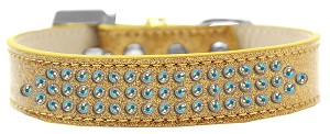 Three Row AB Crystal Ice Cream Dog Collar Gold Size 18