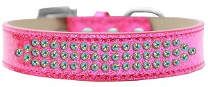 Three Row AB Crystal Ice Cream Dog Collar Pink Size 16