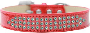 Three Row AB Crystal Ice Cream Dog Collar Red Size 12