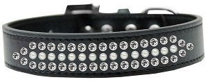 Ritz Pearl and Clear Crystal Dog Collar Black Size 14