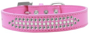 Ritz Pearl and Clear Crystal Dog Collar Bright Pink Size 20