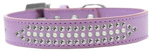 Ritz Pearl and Clear Crystal Dog Collar Lavender Size 20