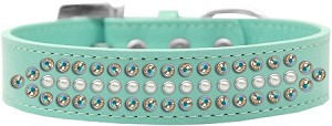 Ritz Pearl and AB Crystal Dog Collar Aqua Size 14