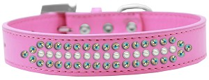 Ritz Pearl and AB Crystal Dog Collar Bright Pink Size 14
