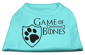 Game of Bones Screen Print Dog Shirt Aqua Med