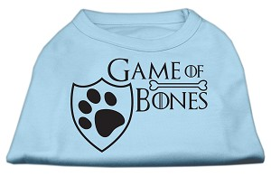 Game of Bones Screen Print Dog Shirt Baby Blue XXL