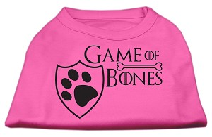 Game of Bones Screen Print Dog Shirt Bright Pink XXL