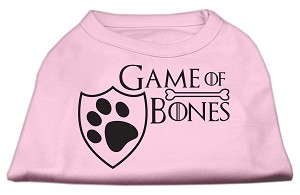 Game of Bones Screen Print Dog Shirt Light Pink Lg