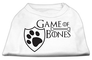 Game of Bones Screen Print Dog Shirt White Lg