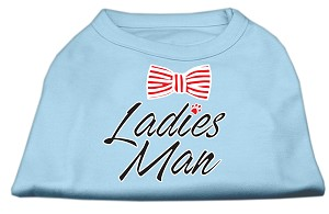 Ladies Man Screen Print Dog Shirt Baby Blue XS (8)