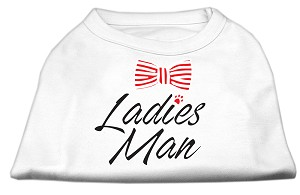 Ladies Man Screen Print Dog Shirt White XS (8)