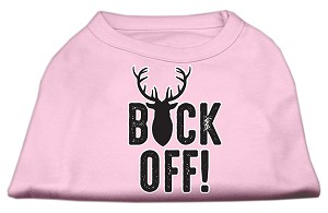 Buck Off Screen Print Dog Shirt Light Pink XL (16)