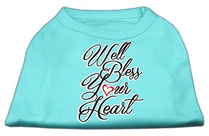 Well Bless Your Heart Screen Print Dog Shirt Aqua Lg (14)