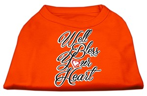 Well Bless Your Heart Screen Print Dog Shirt Orange Med (12)