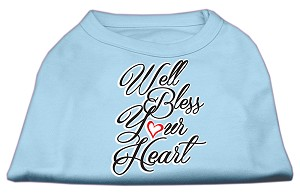 Well Bless Your Heart Screen Print Dog Shirt Baby Blue Lg (14)
