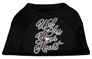 Well Bless Your Heart Screen Print Dog Shirt Black Lg (14)