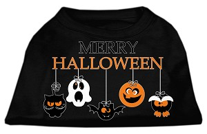 Merry Halloween Screen Print Dog Shirt Black XS (8)