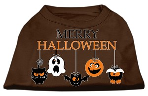 Merry Halloween Screen Print Dog Shirt Brown Med (12)