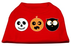 The Spook Trio Screen Print Dog Shirt Red XS (8)
