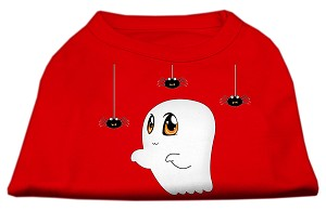 Sammy the Ghost Screen Print Dog Shirt Red Sm (10)