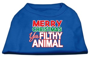 Ya Filthy Animal Screen Print Pet Shirt Blue XS (8)