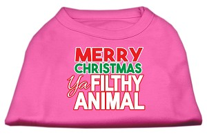 Ya Filthy Animal Screen Print Pet Shirt Bright Pink XXL (18)