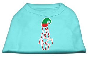Lazy Elf Screen Print Pet Shirt Aqua XS (8)