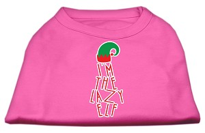 Lazy Elf Screen Print Pet Shirt Bright Pink XS (8)