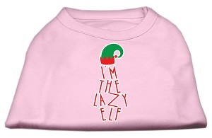 Lazy Elf Screen Print Pet Shirt Light Pink XL (16)