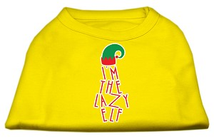 Lazy Elf Screen Print Pet Shirt Yellow Sm (10)