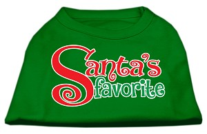 Santas Favorite Screen Print Pet Shirt Emerald Green XS (8)