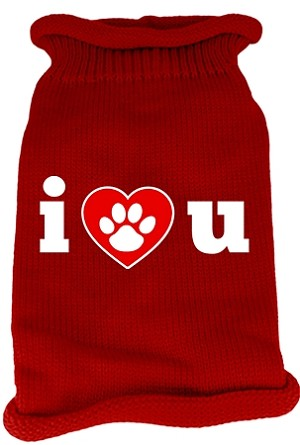 I Love You Screen Print Knit Pet Sweater XL Red