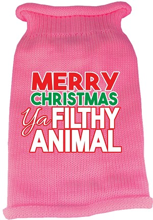 Ya Filthy Animal Screen Print Knit Pet Sweater Light Pink Med (12)