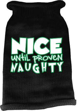 Nice until proven Naughty Screen Print Knit Pet Sweater Black Med (12)