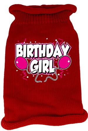 Birthday Girl Screen Print Knit Pet Sweater SM Red